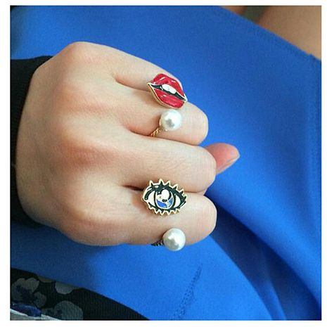 Vintage jewelry pearl eyes gem joint ring ring new lips open ring NHDP190627's discount tags