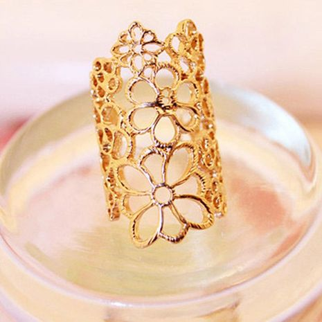 Hollow pattern ring Korean lace rose flower ring jewelry wholesale NHDP190628's discount tags