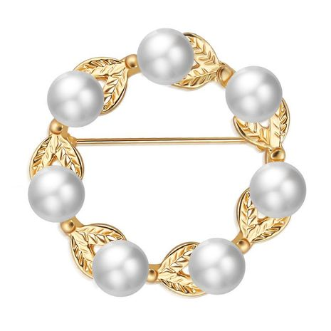 Pearl wreath leaf brooch corsage simple clothes accessories scarf buckle NHDP190637's discount tags