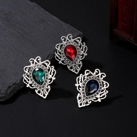 3 Color Gemstone Brooch New Best Selling Hollow Lace Water Drop Gemstone Diamond Simple Pin NHDP190639's discount tags