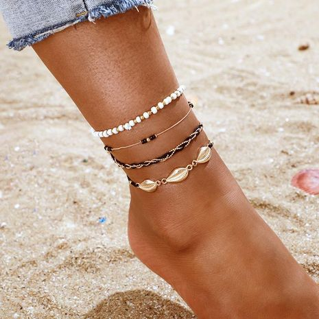 Fashion Mizhu Golden Shell Anklet 4 Piece Set Frosty Conch Line Anklet Set NHGY190648's discount tags
