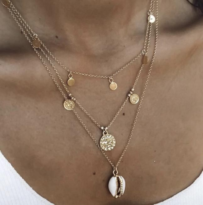 Accessories alloy disc letter virgin shell multilayer necklace women wholesale NHGY190649