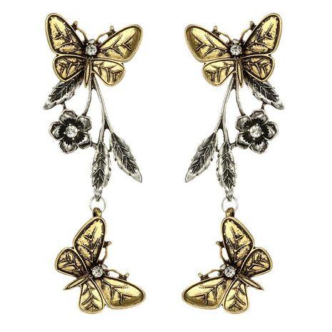 Nueva joyería de moda retro mariposa geométrica deja flores aretes largos de aleación NHGY190651's discount tags