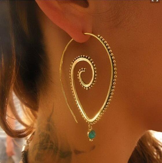 New jewelry trend round spiral earrings swirl green diamond earrings wholesale NHGY190654