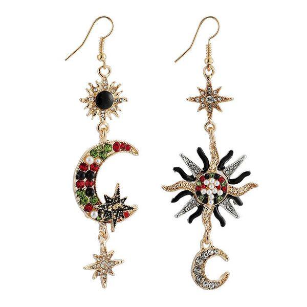 New retro starry earrings asymmetric sun diamond alloy long pendant earrings wholesale NHGY190655