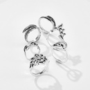 Jewelry Lotus Leaf Set Ring Vintage Leaf Flower Crown Joint Ring 6 Piece Set NHGY190657