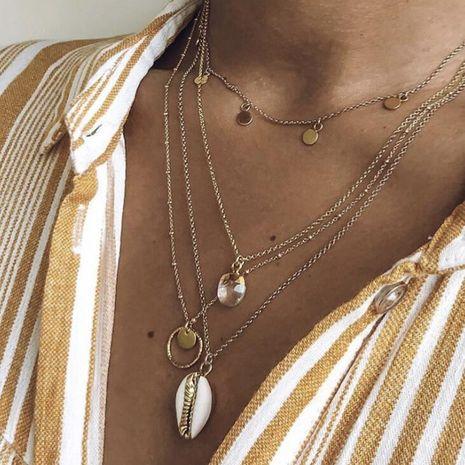 Nouveaux bijoux mode créative paillette shell collier cristal géométrique multicouche collier femmes NHGY190661's discount tags