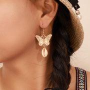 Mode Papillon Doré Chaîne Or Perles Perle Shell Boucles D'oreilles En Métal Boucles D'oreilles NHGY190662