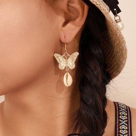 Moda Cadena de mariposa dorada Cuentas de oro Pendientes de concha de perla Pendientes de metal NHGY190662's discount tags