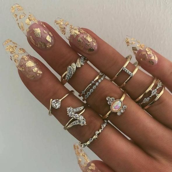 New jewelry fashion water drop diamond alloy protein 9-piece ring NHGY190666