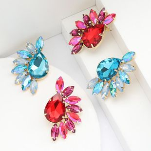Bohemian drop-shaped glass diamond earrings female retro full diamond earrings NHJE190671's discount tags