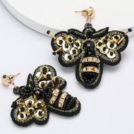Pendientes de cuentas de diamantes de terciopelo de moda pendientes de invierno retro femeninos NHJE190673