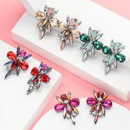 Bee rhinestone glass rhinestone earrings women retro full diamond earrings NHJE190678