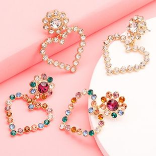 Rhinestone and diamond love heart earrings female earrings fashion earrings wholesale NHJE190681's discount tags