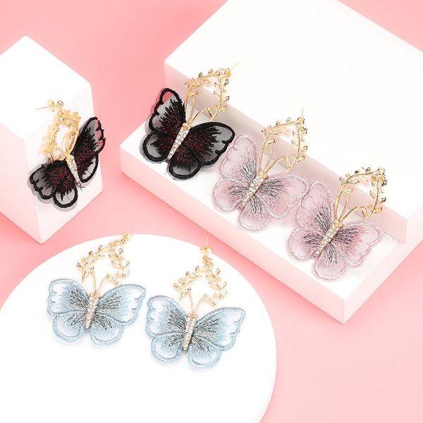 New alloy flower diamond lace butterfly earrings women's earrings wholesale NHJE190689