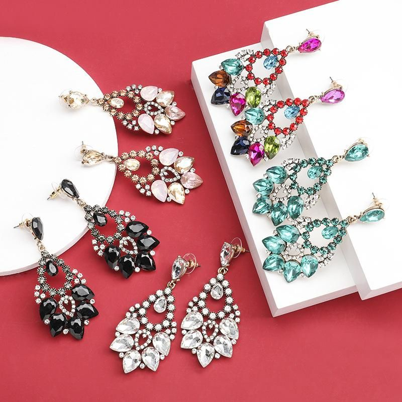 Multi-layer drop-shaped alloy diamond-studded glass diamond rhinestone super flash full diamond earrings women dinner earrings NHJE190694