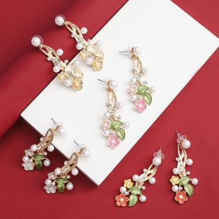 earrings new alloy diamond and pearl flower earrings women's earrings wholesale NHJE190697's discount tags