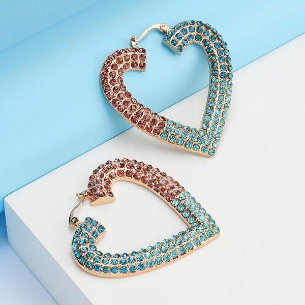 Alloy rhinestone diamond heart love earrings vintage women's earrings wholesale NHJE190699