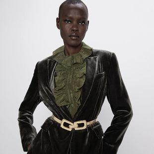Alloy elastic belt metal waist seal fashion coat accessories NHJQ190709's discount tags