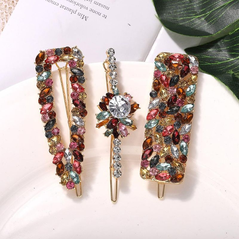 Alloy Diamond Hair Clip Set Korean New Flowers Retro Hair Accessories Fashion Word Clip NHJQ190721