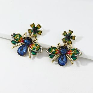Jewelry alloy drip oil bee earrings colored diamond animal earrings NHNZ190750's discount tags