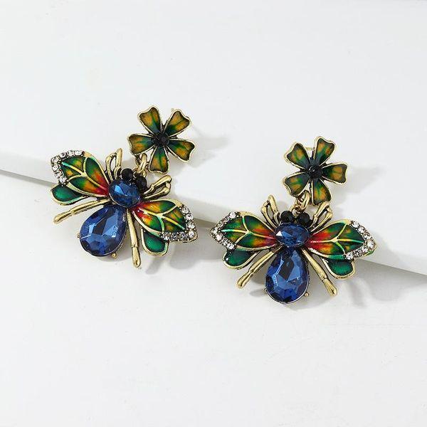 Jewelry alloy drip oil bee earrings colored diamond animal earrings NHNZ190750
