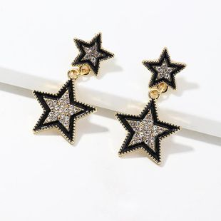 Jewelry fashion creative double five-pointed star earrings long micro-set diamond earrings women NHNZ190753's discount tags