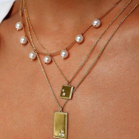 Nuevo párrafo decorado collar de perlas de moda metal colgante cuadrado geométrico collar multicapa NHNZ190778's discount tags
