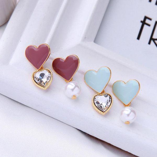 Aretes de amor esmaltados de esmalte coreano Nuevos pendientes de perlas simples y colgantes NHQD190815
