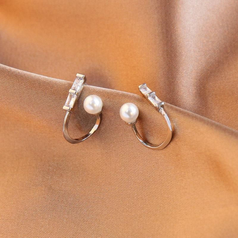 Geometric earrings S925 silver diamond earrings Korean pearl earrings women NHQD190820