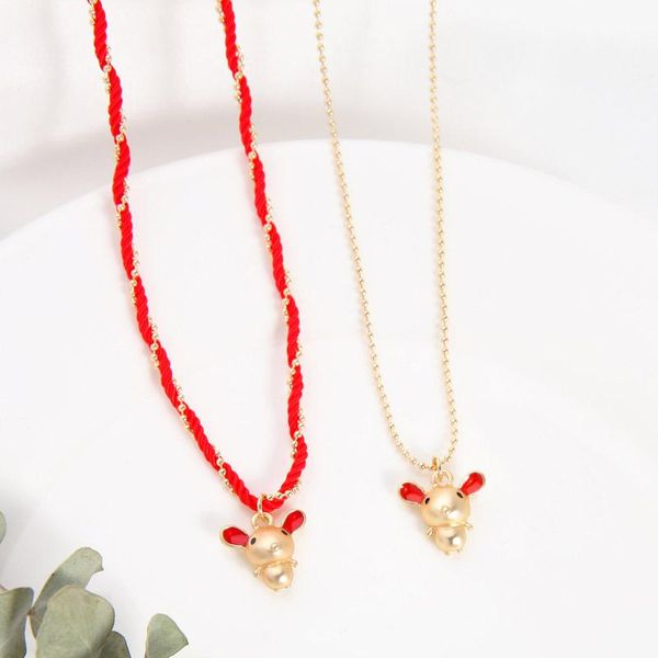 Birthday gift cute woven red rope necklace transfer mouse clavicle chain NHQD190822