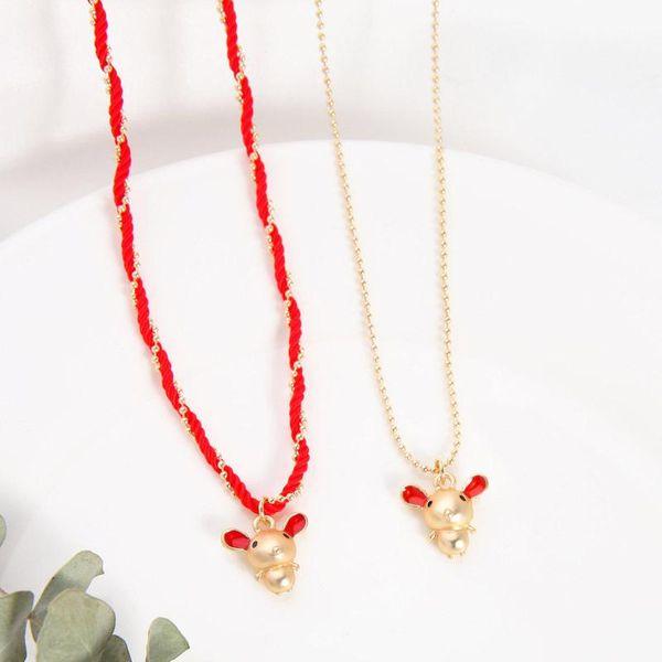 Regalo de cumpleaños lindo collar de cuerda roja tejida transferencia cadena de clavícula del ratón NHQD190822