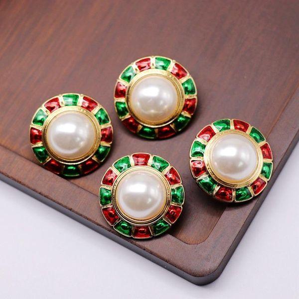 Perla redonda Oreja Espárrago Clip de oreja Rojo Verde Gota de aceite Perla 925 Plata Aguja Oreja Espárrago Clip de oreja NHOM190831
