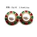 Round Pearl Ear Stud Ear Clip Red Green Drop Oil Pearl 925 Silver Needle Ear Stud Ear Clip NHOM190831