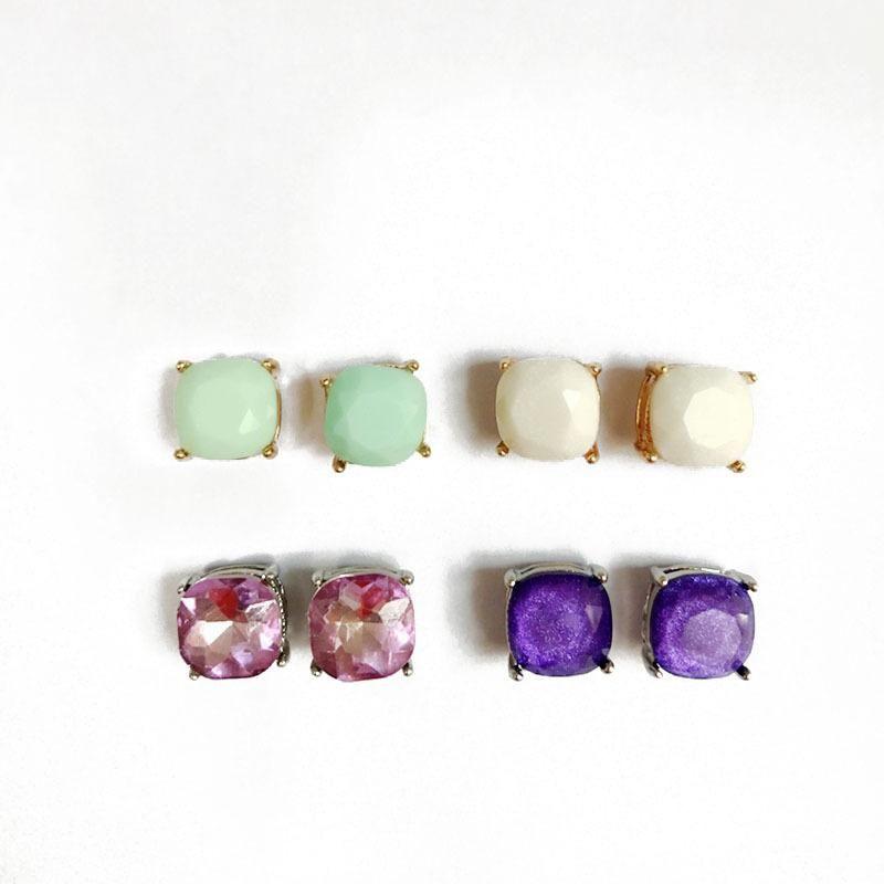 Exquisite faceted resin gemstone earrings color earrings wholesale women NHOM190841