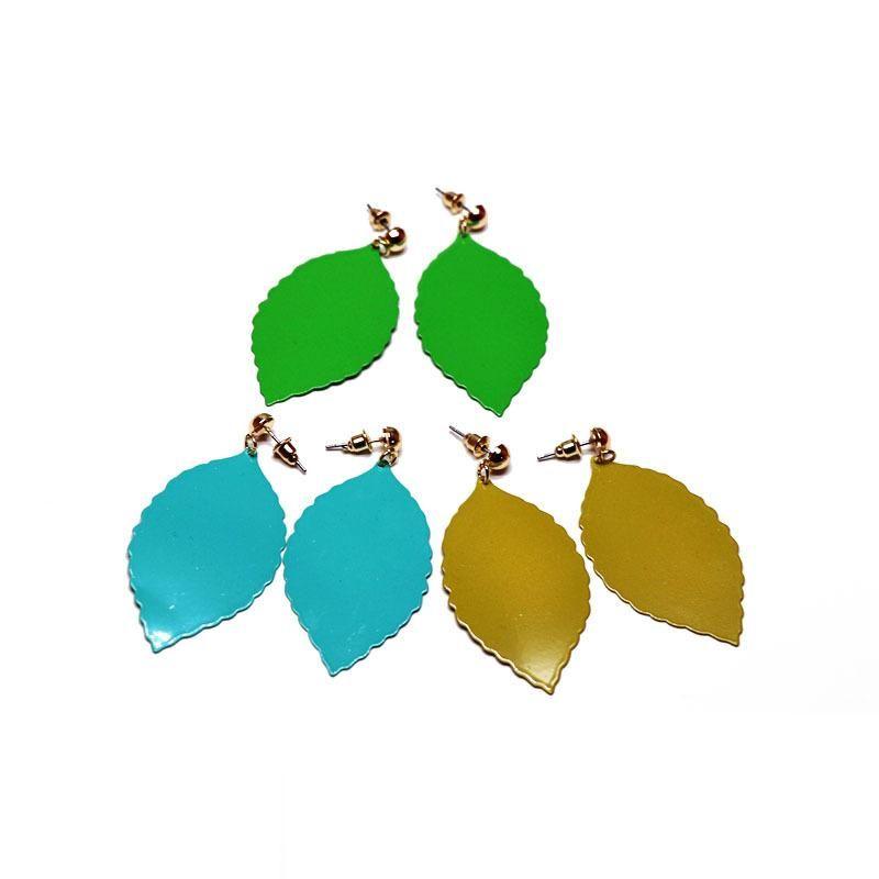 Simple metal leaf earrings yellow green blue leaf shaped earrings color earrings NHOM190846