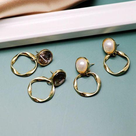 Pendientes de anillo de metal simples pendientes redondos pendientes de oro retro NHOM190851's discount tags