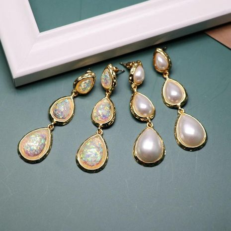 Pendientes colgantes de agua de color blanco Pendientes de perlas de resina coreana Joyas salvajes NHOM190852's discount tags