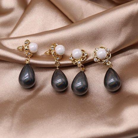 Colgante en forma de gota Pendientes de plata 925 con clip de oreja Pendientes de color azul Pendientes retro NHOM190856's discount tags