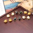 925 Silver Stud Ear Studs Metal Flower Colored Beads Flower Ear Stud Ear Clip NHOM190857