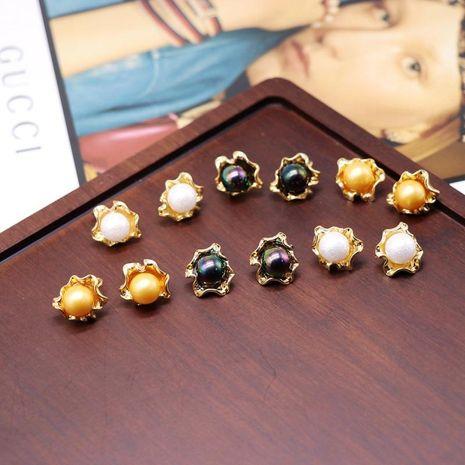 Plata 925 Pendientes de botón de metal Flor de metal Cuentas de colores Clip de oreja de botón de flor NHOM190857's discount tags