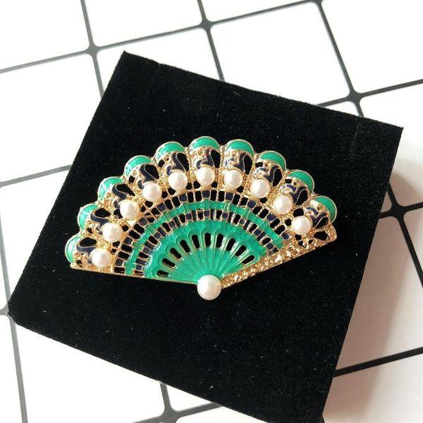 Green fan-shaped pin brooch handmade dripping white pearl wild dress accessories pin NHOM190862