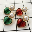 S925 silver earrings love resin gemstone sterling silver earrings wholesale earrings NHOM190863