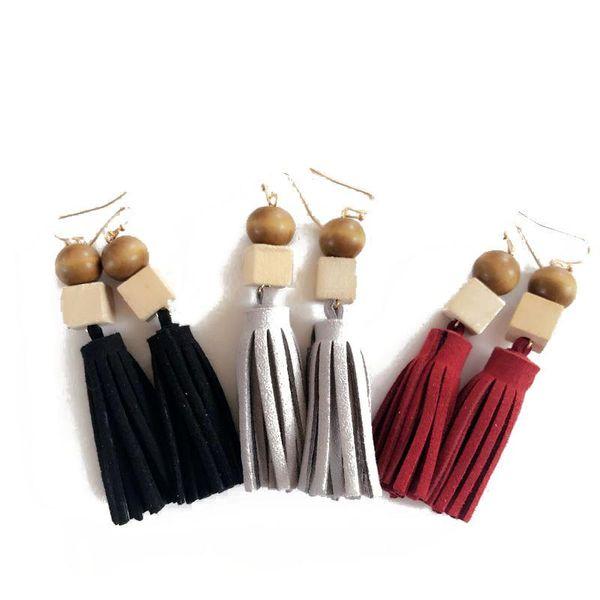 Tassel leather earrings delicate hand-cut wood bead earrings women earrings NHOM190871