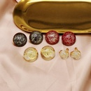 Round resincoated gold wire and gold wire ear clips transparent resincoated pearl screw ear clips NHOM190875