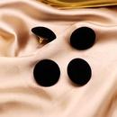 Round Black Flocked 925 Silver Ear Studs Black Fashion Ear Stud Ear Clip NHOM190876