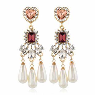 Simple diamond earrings female Korean version of minimalist pearl earrings NHVA190882's discount tags