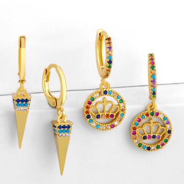 Geometric minimalist female fashion earrings with diamond crown crown pyramid earrings NHAS190891