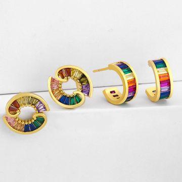 New zircon earrings female simple C-shaped stud earrings geometric earrings NHAS190893