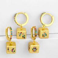 Women's earrings with micro-set zircon geometric square earrings NHAS190894